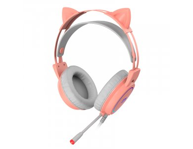 Ajazz STH200 Pink Kitty Quartz RGB Gaming Headset 7.1 Noise-cancelling Microphone (PC / PS4 / Xbox / Switch / Mac / iOS)