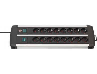 Brennenstuhl Premium-Alu Technics 16-outlet Extension socket, Πολύπριζο με Ανεξάρτητους διακόπτες ανά 8άδα & 3M Καλώδιο, Μαύρο