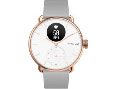 Withings ScanWatch Hybrid Smartwatch 38mm, Activity, Heart Rate Sleep Monitor, GPS, ECG & Oximeter, Αδιάβροχο 50μ. Rose Gold