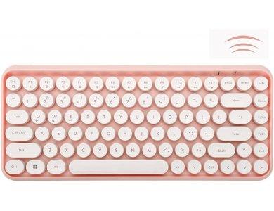 Ajazz 308i Ultra Compact Slim Profile Bluetooth Πληκτρολόγιο Multi-Device, Retro Keyboard με Round Keys, Pink