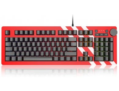 Ajazz AK60 Wired Mechanical RGB Keyboard, Programmable, Silver switches with 6 Media Keys & Aluminum Panel, Red