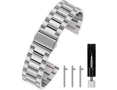 Berfine Quick Release Stainless Steel Bracelet 20mm, Λουράκι / Μπαντ για Smartwatch Scanwatch / Gear S2 / Pebble κ.α., Silver