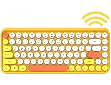 Ajazz 308i Ultra Compact Slim Profile Bluetooth Πληκτρολόγιο Multi-Device, Retro Keyboard με Round Keys, Yellow