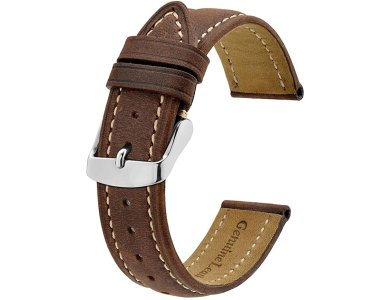Bisonstrap Replacement 20mm για Withings Scanwatch Leather Strap, Δερμάτινο Λουράκι / Μπαντ για Smartwatch Scanwatch