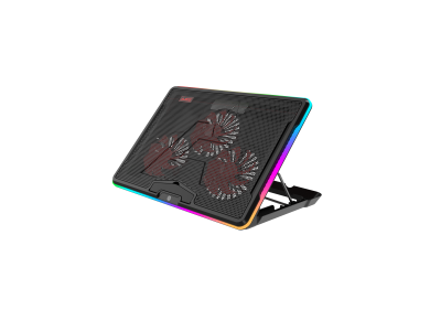 """Ajazz ANC160 RGB Gaming Cooling Pad, 3 Fans Aluminum Panel & Height Adjustment έως 17"""", Black"""