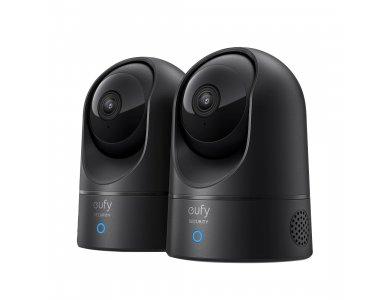 Anker eufyCam IP Camera 2K, Set of 2, Pan & Tilt, Night Vision, 2 -Way Audio, WiFi, Human & Pet AI - T8413G11, Black